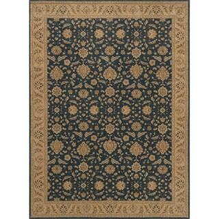 Traditional Dark Blue Denim/ Beige Classic Floral Area Rug - 12' x 15'