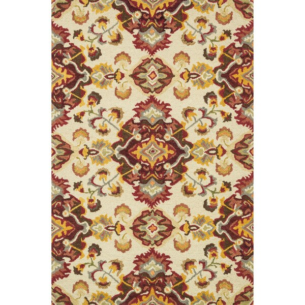 Hand-hooked Tessa Red/ Gold Floral Wool Rug - 9'3 x 13'