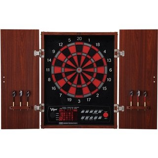 Viper Neptune 15.5-inch Regulation Electronic Soft-tip Dartboard with Wood Cabinet Set - Black