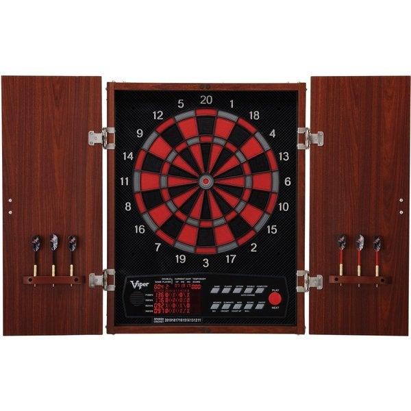 Viper Neptune 15.5-inch Regulation Electronic Soft-tip Dartboard with Wood Cabinet Set - Black