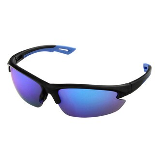 Hot Optix Men's Black Plastic Semi Rimless Sport Wrap Sunglasses