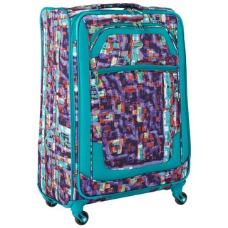American Tourister by Samsonite iLite Xtreme Teal Abstract 25-inch Expandable Spinner Upright Suitcase