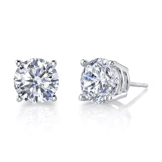 H Star 14k White Gold Diamagem Stud Earrings