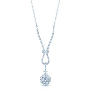 14k White Gold Diamond Cluster Necklace (H-I, S1-S2)