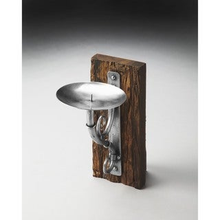 Butler Aspen 2583016 Brown Wood and Silver Iron 6.5-inch x 9.5-inch x 11-inch Rustic Candle Sconce