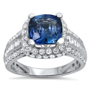 Noori 18k White Gold 2 1/4 Carat TGW Blue Cushion Cut Sapphire Diamond Engagement Ring