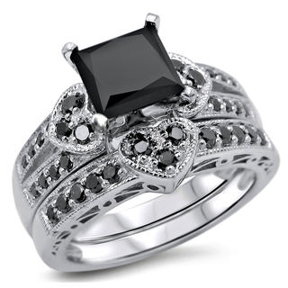 Noori 14k White Gold 2 1/4ct TDW Black Princess-cut Diamond Heart Bridal Ring Set