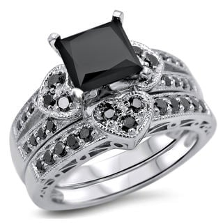 Noori 14k White Gold 2 1/4ct TDW Certified Black Princess-cut Diamond Heart Bridal Ring Set