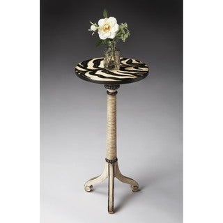Butler Florence 158319 Zebra Stripe Painted Wood 12-inch x 24-inch Pedestal Table
