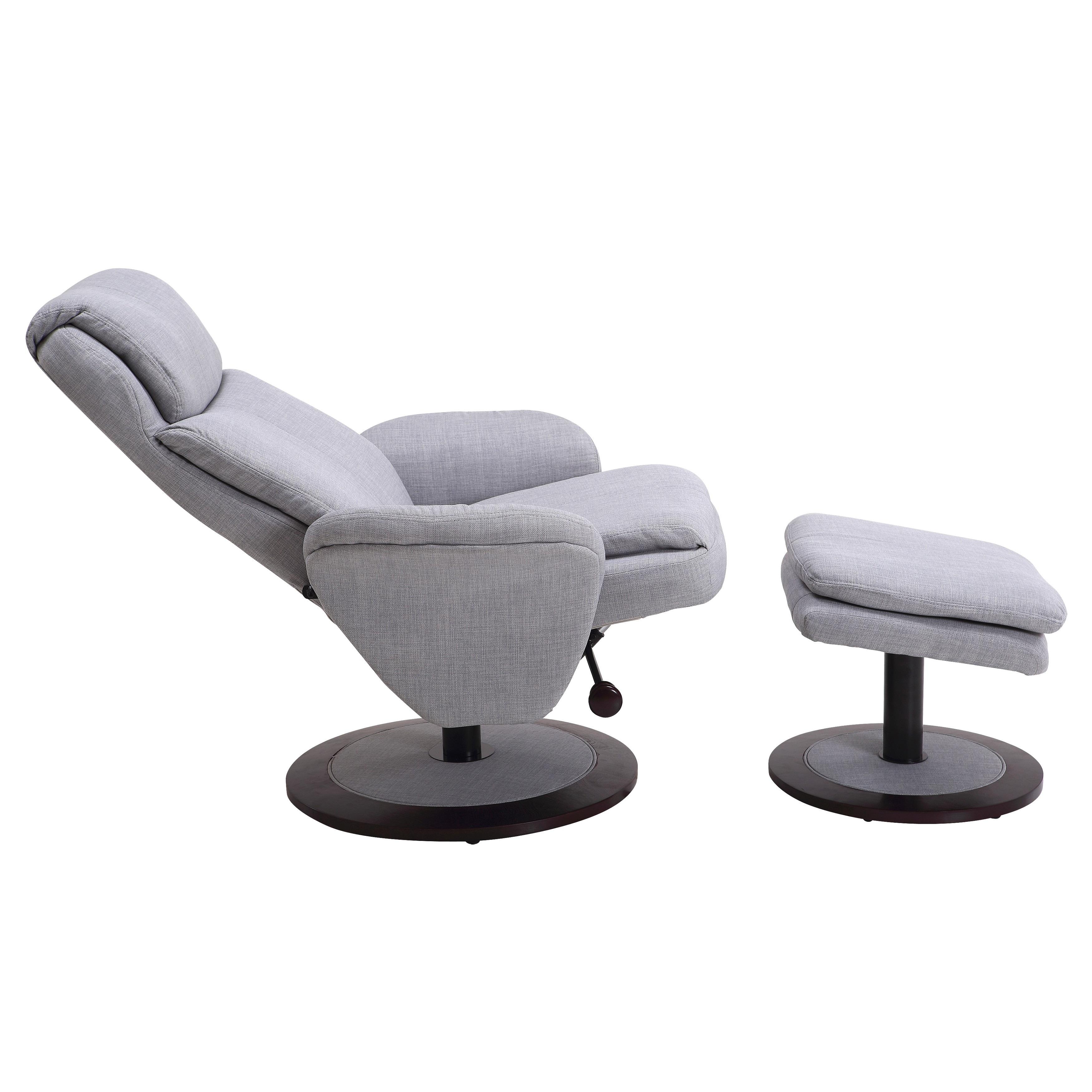 Wondrous Berum Collection Light Grey Fabric Swivel Recliner With Ottoman Machost Co Dining Chair Design Ideas Machostcouk