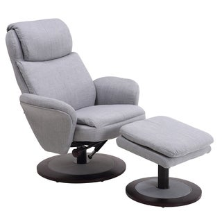 Berum Collection Light Grey Fabric Swivel Recliner with Ottoman