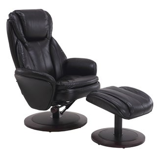 Berum Collection Black Leather Swivel Recliner with Ottoman