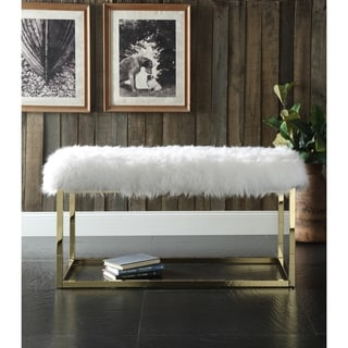Chic Home Marilyn Luxe Fur Seat Metal Frame Cube Ottoman Bench