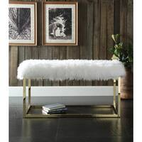 "Chic Home Marilyn Luxe Fur Seat Metal Frame Cube Ottoman Bench - 39""L x 18""D x 19""H"