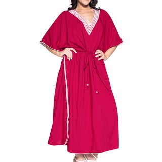 La Leela Women's Pink Rayon 2-in-1 Nightgown Smooth Beachwear Kimono Evening Long Kaftan Maxi Dress