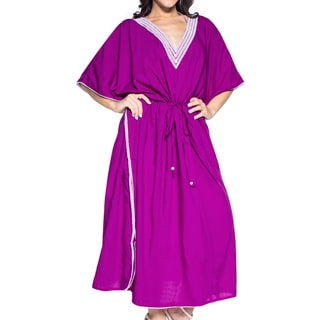 La Leela Women's Violet Rayon 2-in-1 Nightgown Plain Soft Beach Evening Nightwear Casual Long Kaftan Dress