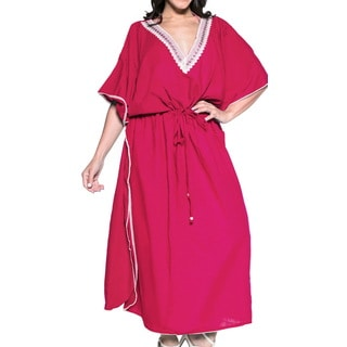 La Leela Women's Pink Rayon 2-in-1 Nightgown Smooth Plain Beachwear Evening Summer Dress Long Kaftan