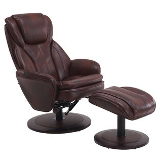Berum Collection Whiskey Brown Breathable Leather Swivel Recliner with Ottoman
