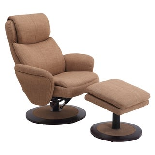 Berum Collection Taupe Fabric Swivel Recliner With Ottoman