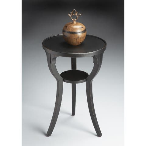 """Butler 16""""Dia Solid Wood Lightly Distressed Round Accent Table in Black Licorice Finish"""