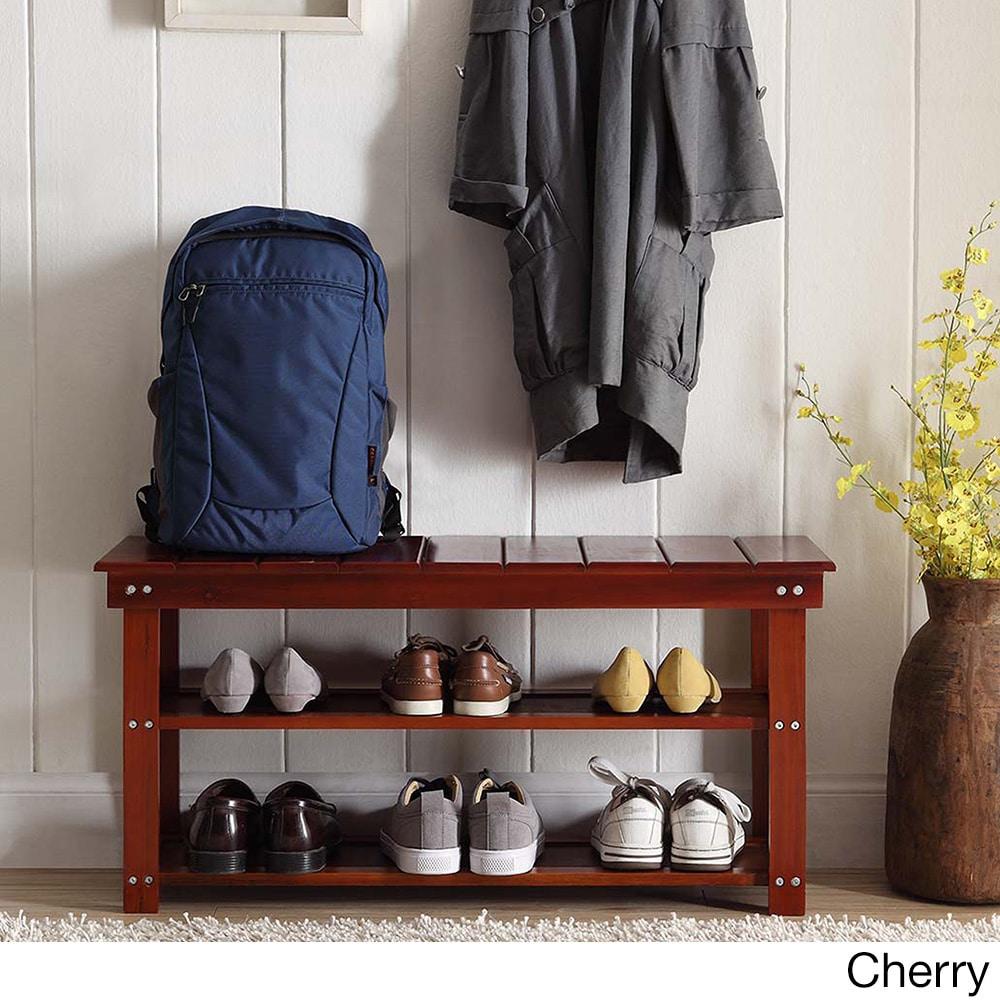 Shoe Storage Bench Mudroom Rack Wood Sy Durable Organize Floor Door Cherry