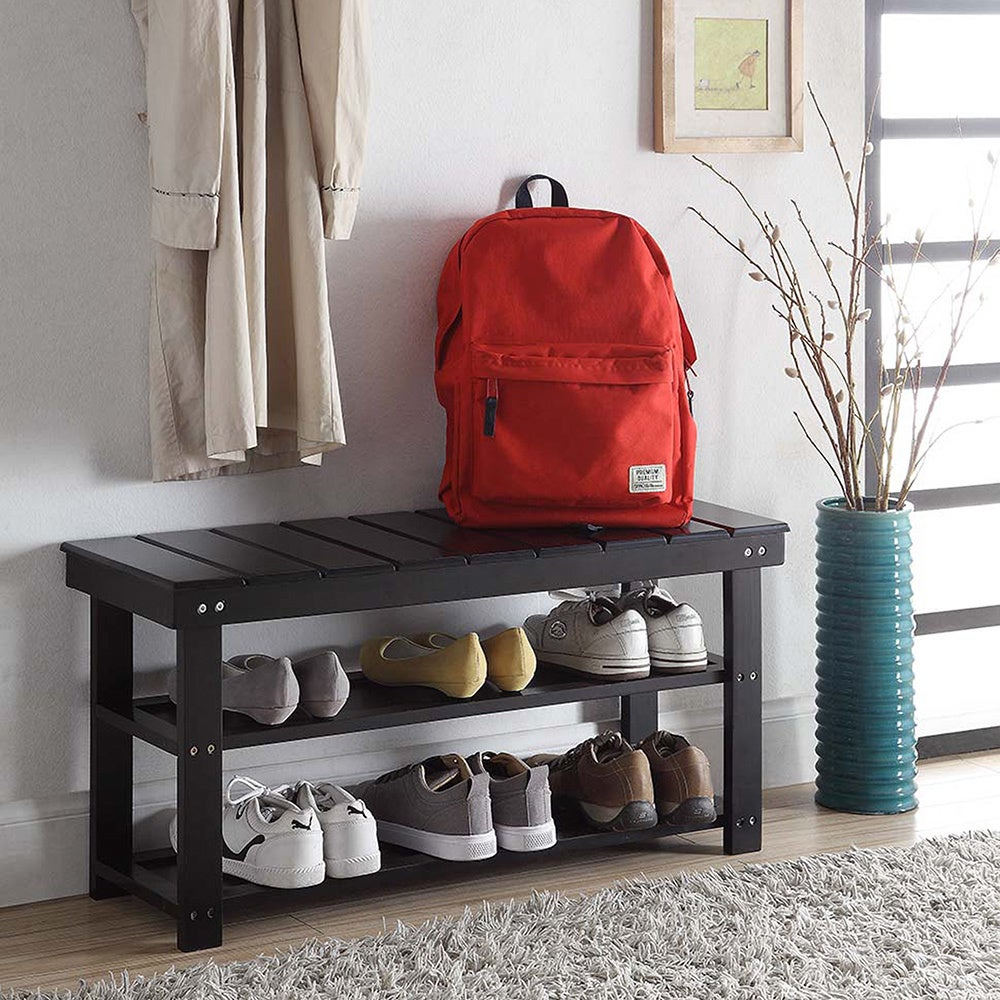 Convenience Concepts Oxford Wood Utility Mudroom Bench wi...