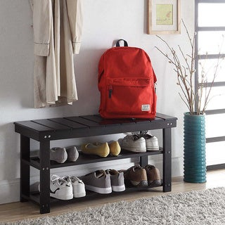 Convenience Concepts Oxford Wood Utility Mudroom Bench with Shoe Storage