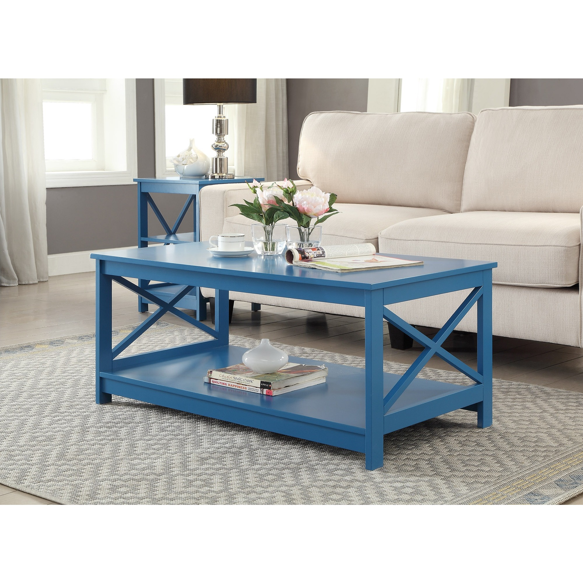 Blue Coffee Console Sofa & End Tables For Less