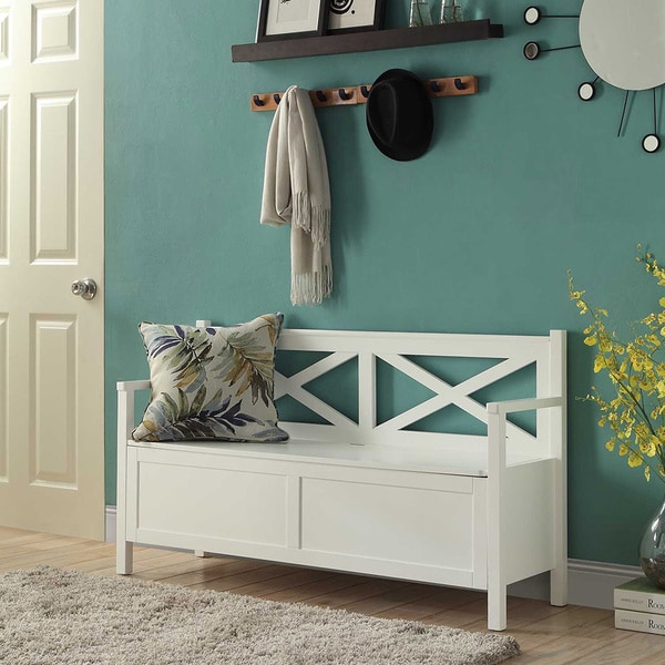 Convenience Concepts Oxford White Wood Storage Bench - Free Shipping ...