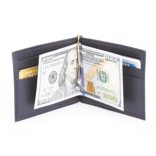 Royce Leather Genuine Leather RFID Blocking Money Clip Credit Card Wallet (Option: Blue)