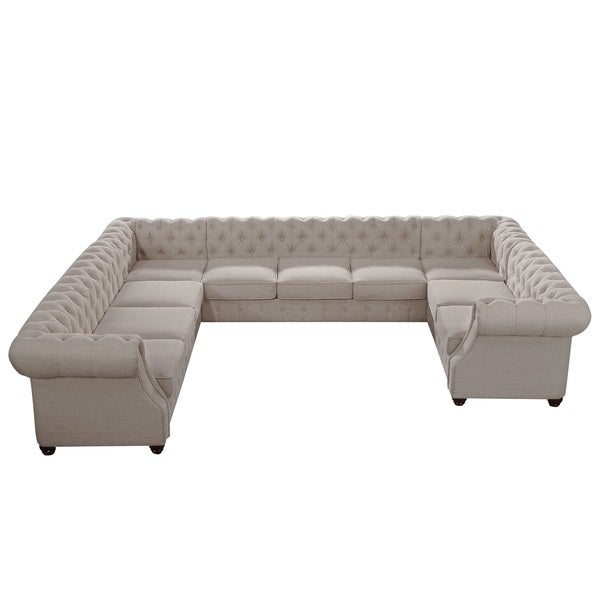 Moser bay furniture garcia roll arm 10 seat u sectional for 8 seat sectional sofa