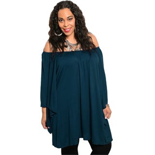 Stanzino Women's Plus-size Solid-colored Rayon Off-shoulder Tunic