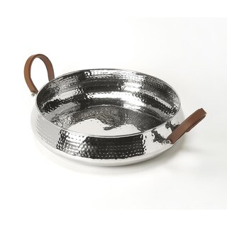 Handmade Butler Brigadier Hammered Stainless Steel Serving Tray (India)