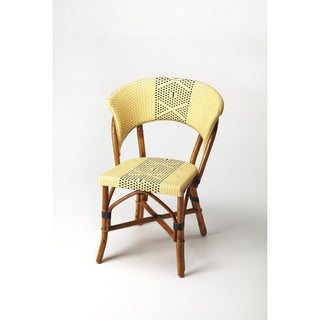 Butler Luna Yellow and Brown Rattan and Plastic Accent Side Chair