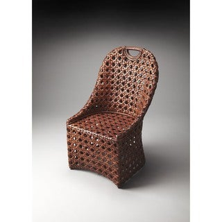 Butler Brown Rattan and Wood Accent Chair