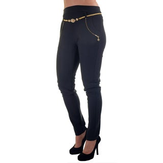 Women's Multicolor Polyester/Spandex Fashion Scuba Stretch Waist Pants with Belt