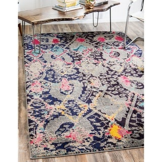 Turkish Sedona Polypropylene Multi/Navy/Grey/Red Rug (7' x 10')