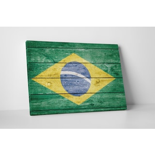 Flags 'Vintage Brazil Flag' Gallery Wrapped Canvas Wall Art
