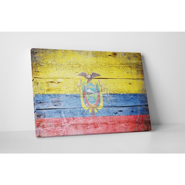 Flags 'Vintage Ecuador Flag' Gallery Wrapped Canvas Wall Art