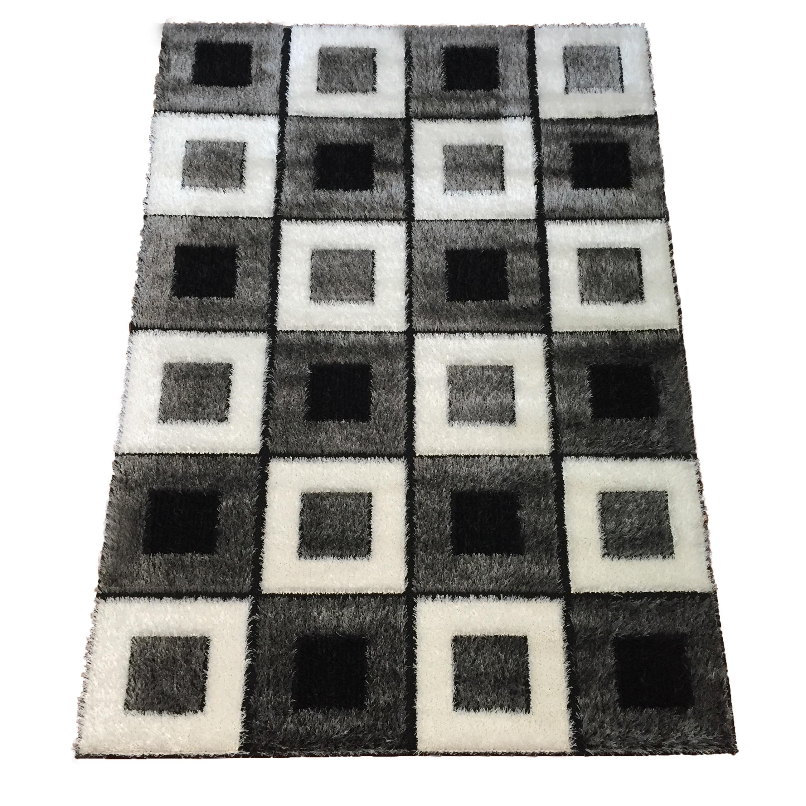 Lyke Home Black/ Grey/ White Polypropylene Geometric Area...