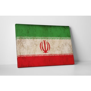Flags 'Vintage Iran Flag' Gallery Wrapped Canvas Wall Art