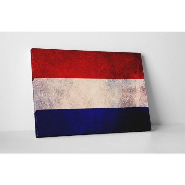 'Vintage Netherlands Flag' Gallery Wrapped Canvas Wall Art