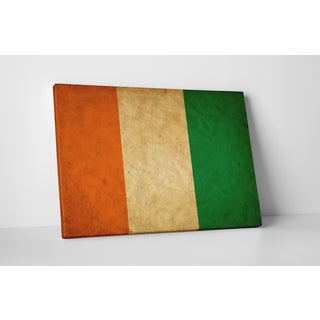 Flags 'Vintage Ivory Coast Flag' Gallery Wrapped Canvas Wall Art