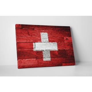 Flags 'Vintage Switzerland Flag' Gallery Wrapped Canvas Wall Art