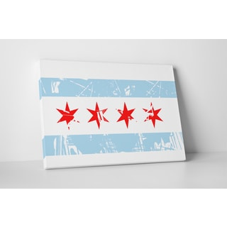 Flags 'Vintage City of Chicago Flag' Gallery Wrapped Canvas Wall Art