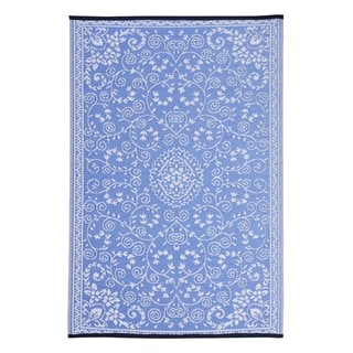 Blue/White Polypropylene Classic Indoor/Outdoor Reversible Area Rug (4' x 6')