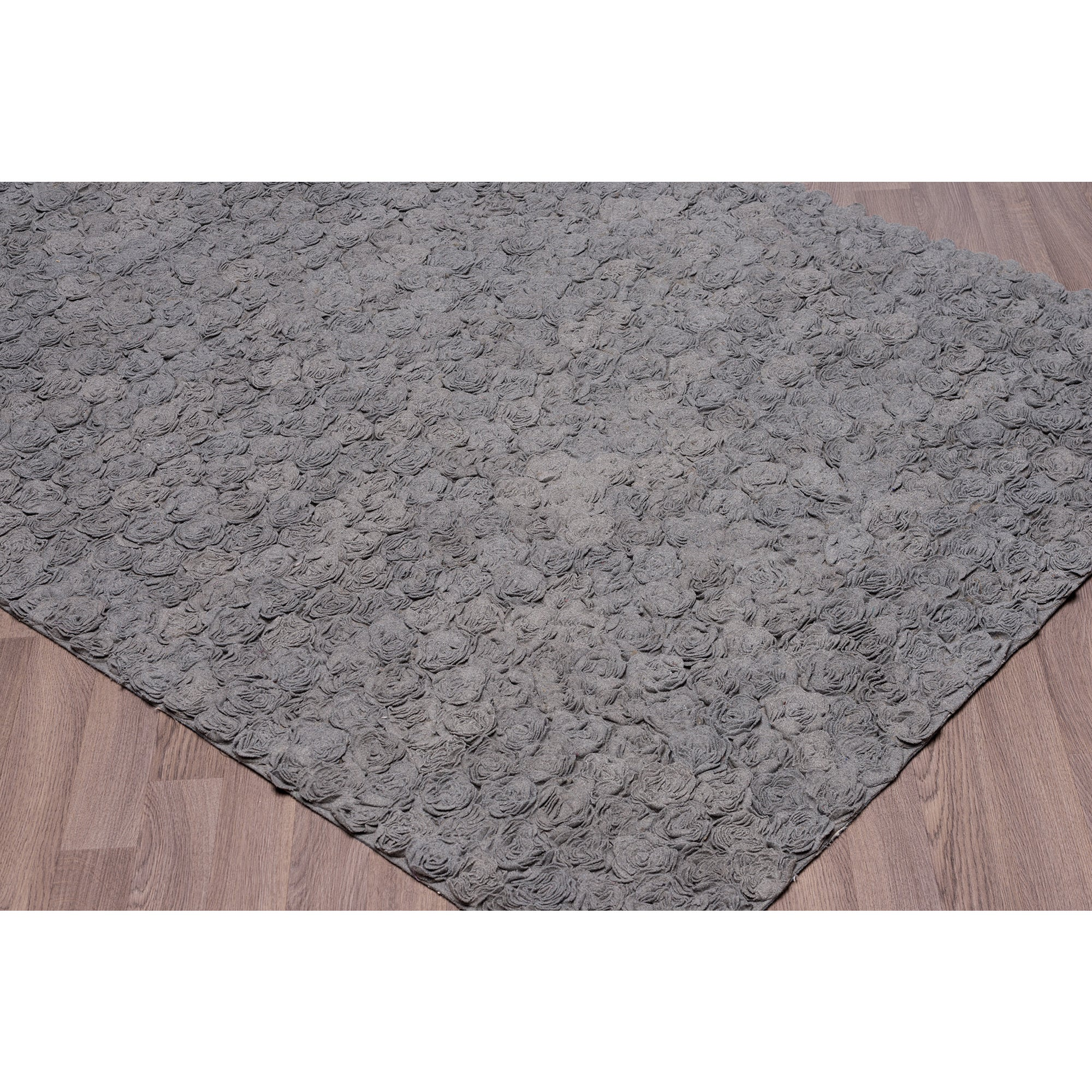 Grey Felt/Wool/Cotton Flower Petal Shag Rug (5' x 7'6) (F...