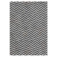 Black/Ivory Leather/Felt Hand-stitched Chevron Cowhide Rug - 5' x 8'