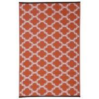 Quatrefoil Orange/White Polypropylene Indoor Outdoor Reversible Area Rug - 5' x 8'