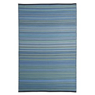 Blue/Multicolor Polypropylene Stripe Indoor/Outdoor Reversible Area Rug (5' x 8')